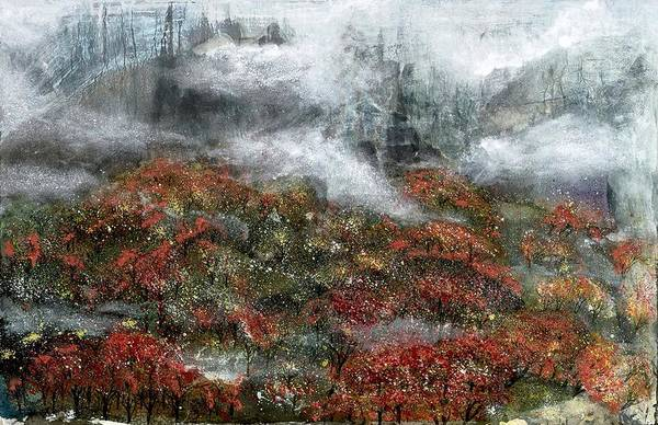 Ming Tree Painting - Misty Ridge by Ming Franz