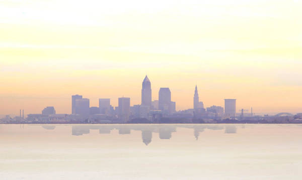 Baseball Hall Of Fame Photograph - Misty Sunrise In Cleveland by Kitty Ellis