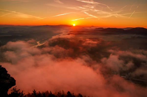 Misty Sunrise On The Lilienstein Art Print