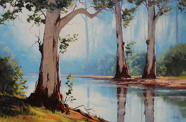 Australian Art Painting - Misty Trees by Graham Gercken