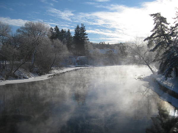 Misty Winter River Art Print by Carolyn Reinhart