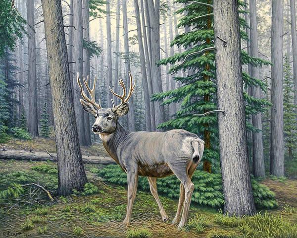 Wall Art - Painting - Misty Woods-buck by Paul Krapf