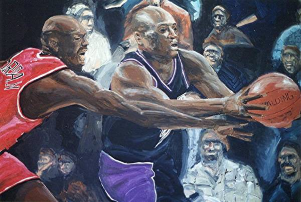 Mitch Richmond And Michael Jordan Art Print by Paul Guyer