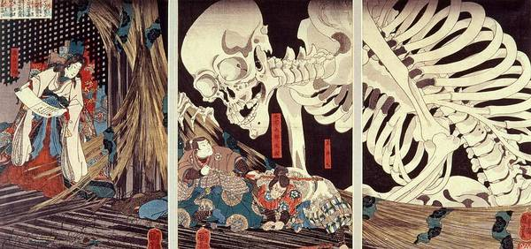 Triptych Wall Art - Photograph - Mitsukini Defying The Skeleton Spectre, C.1845 Hand Coloured Woodcut Print by Utagawa Kuniyoshi