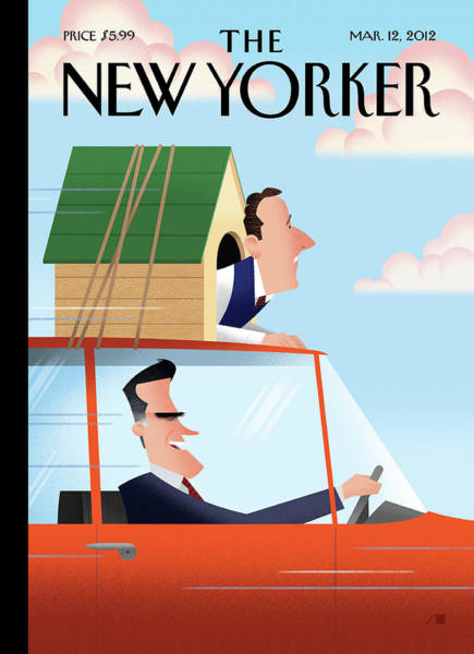 Roof Painting - Mitt Romney Driving With Rick Santorum In A Dog by Bob Staake