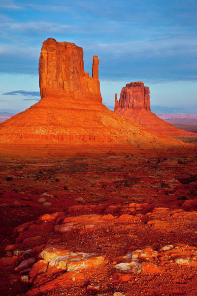 The Mitten Photograph - Mittens At Sunset, Monument Valley by Danita Delimont
