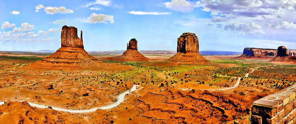 Tribal Land Digital Art - Mittens Courthouse Monument Valley Panorama  by Bob and Nadine Johnston