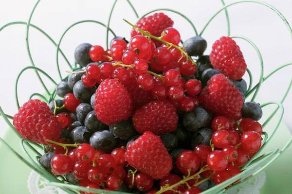 Wall Art - Photograph - Mixed Berries Fruit In A Basket by Foodcollection