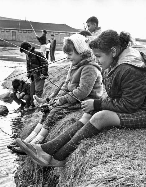 1958 Photograph - Mixed Ethnic Children Fishing by Underwood Archives