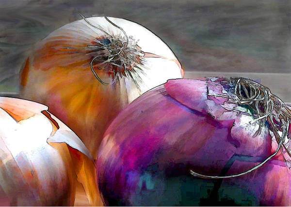 Red Onion Painting - Mixed Onions by Elaine Plesser