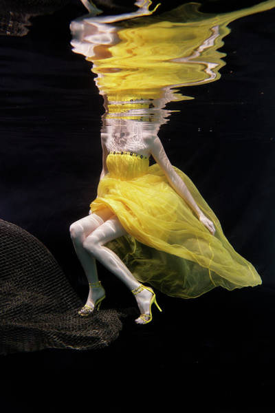 Trapped Photograph - Mixed Race Woman In Dress Swimming by Ming H2 Wu