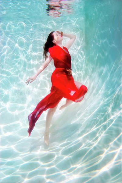 Red Dress Photograph - Mixed Race Woman In Dress Underwater In by Ming H2 Wu