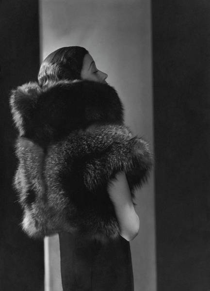 Celebrities Photograph - Mlle. Koopman Wearing A Fur Jacket by George Hoyningen-Huene
