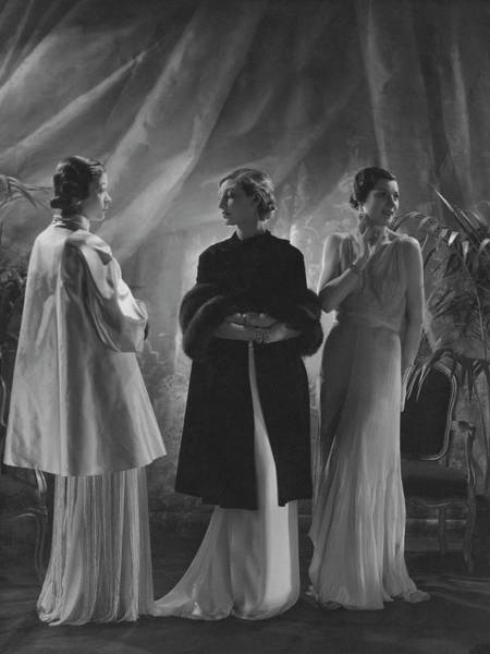 Photograph - Mlle. Koopman Wearing A Satin Wrap by George Hoyningen-Huene