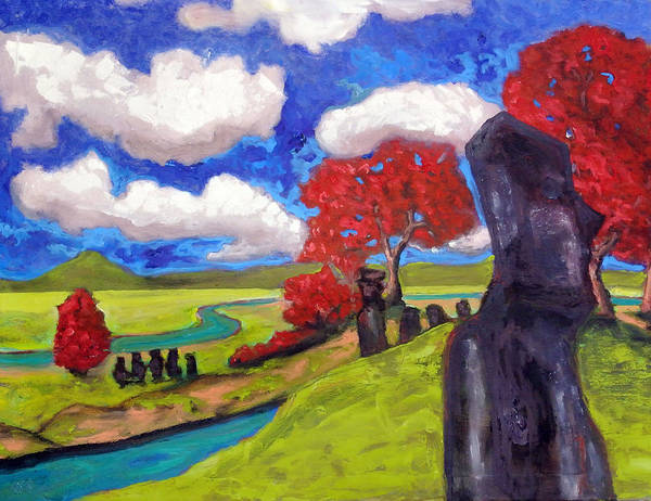 Painting - Moai In Our Midst by Dilip Sheth
