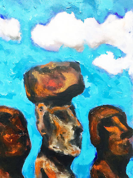 Painting - Moai In The Midst by Dilip Sheth