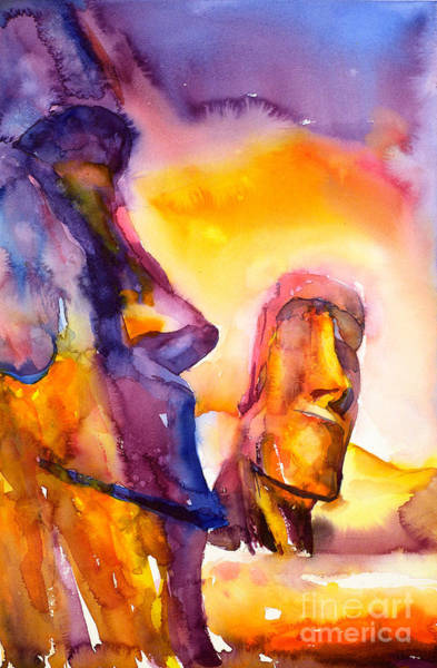 World Heritage Site Painting - Moai Statues- Easter Island by Ryan Fox