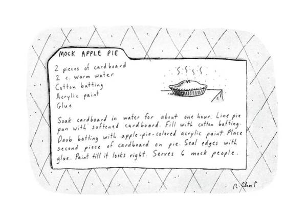 Apple Drawing - Mock Apple Pie Recipe by Roz Chast