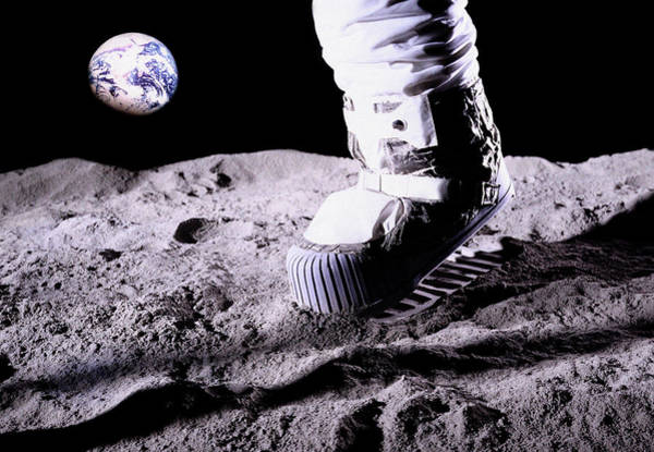 Moon Walk Wall Art - Photograph - Mock-up Of An Astronaut's Foot On The Moon by Paul Robbens & Gus York/science Photo Library