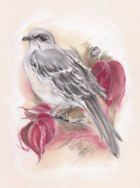 Pastel - Mockingbird In Autumn Dogwood by MM Anderson