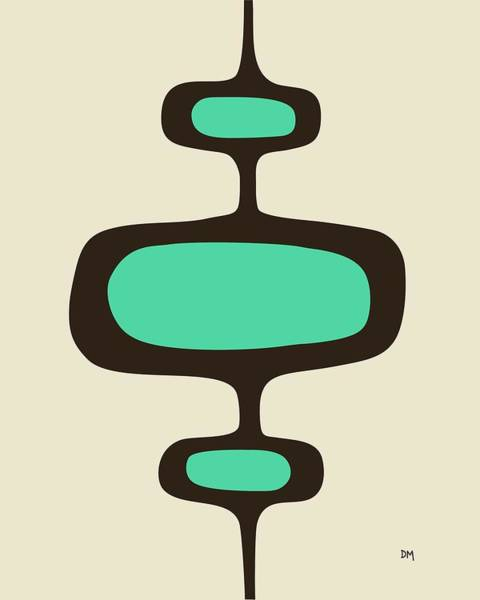 Digital Art - Mod Pod One Aqua With Brown by Donna Mibus