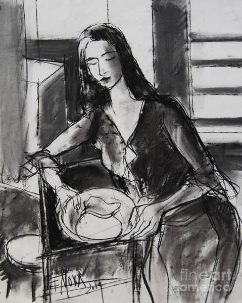 Impressionist Drawing - Model #5 - Figure Series by Mona Edulesco