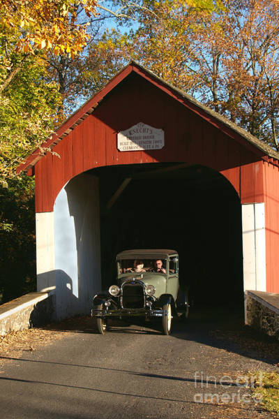 Wall Art - Photograph - Model A Ford At Knecht's Bridge by Anna Lisa Yoder