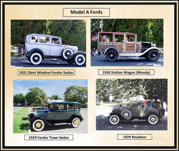 Photograph - Model A Fords Collage  by Charles Robinson