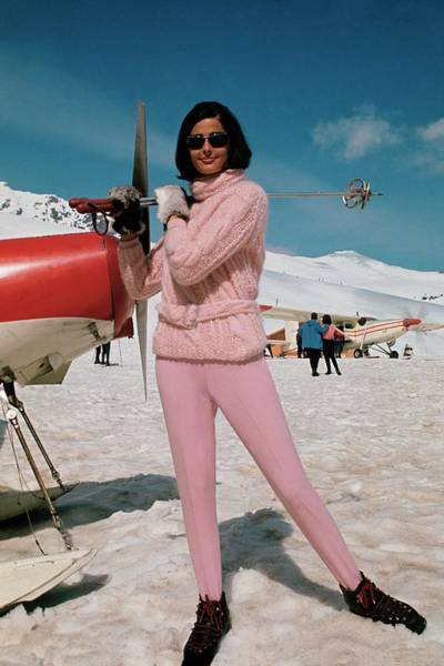 Snow Photograph - Model At A Ski Resort Wearing An Outfit By Petti by Frances McLaughlin-Gill