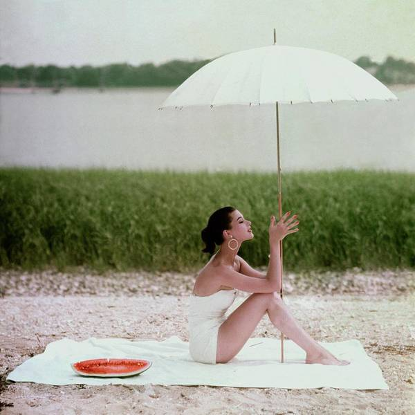 Towel Photograph - Model Barbara Mullen In A White Swimsuit by Frances McLaughlin-Gill