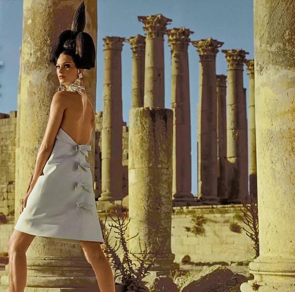 Jerash Photograph - Model By Columns At Jerash by Henry Clarke