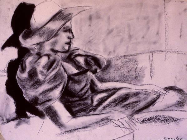 Drawing - Model Hat Sketch by Kendall Kessler