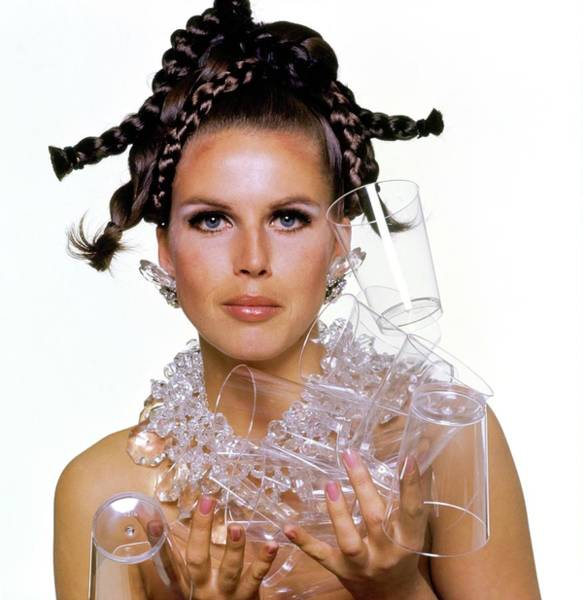 Eyeliner Wall Art - Photograph - Model Holding Plastic Cups by Bert Stern