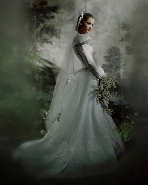 Wedding Bouquet Photograph - Model In A Batiste Wedding Dress by Frances McLaughlin-Gill