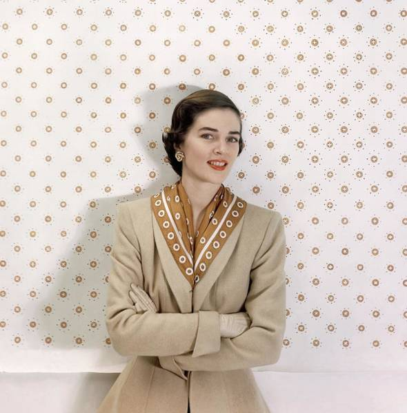 Red Cross Photograph - Model In A Beige Suit by Frances McLaughlin-Gill