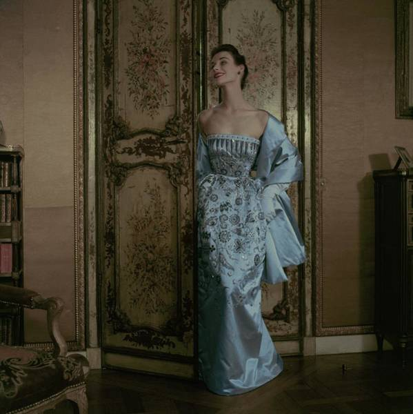Blue Gown Photograph - Model In A Dior Gown by Frances McLaughlin-Gill