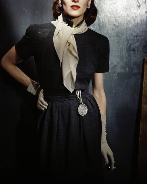 Warm Photograph - Model In A Gray Wool Dress by Frances McLaughlin-Gill