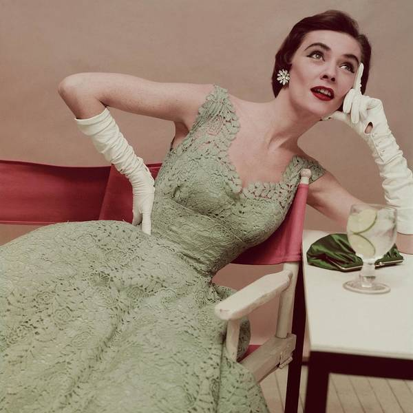 Glamour Photograph - Model In A Green Lace Dress by Clifford Coffin; Frances McLaughlin-Gill
