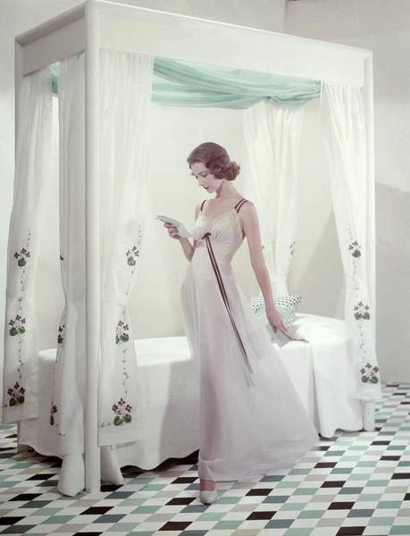 Tile Floor Photograph - Model In A Nightgown Reading A Letter by Frances McLaughlin-Gill