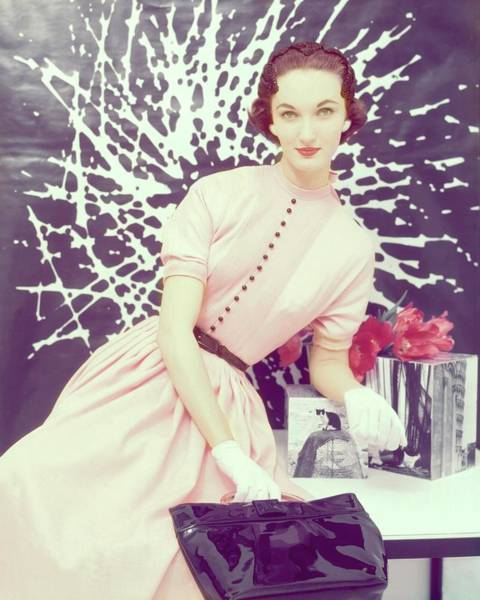 Pink Flower Photograph - Model In A Pink Rayon Dress by Clifford Coffin; Frances McLaughlin-Gill
