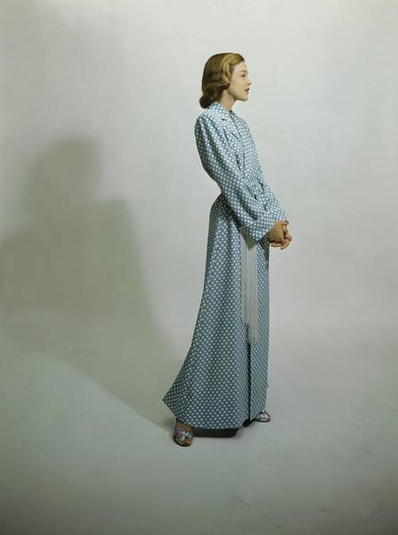 Dressing Photograph - Model In A Rayon Shantung Robe by Frances McLaughlin-Gill