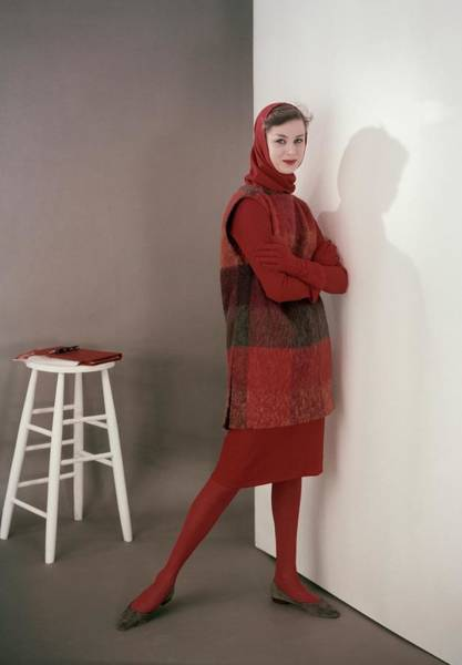 Red Cross Photograph - Model In A Tunic And Wool Dress by Frances McLaughlin-Gill