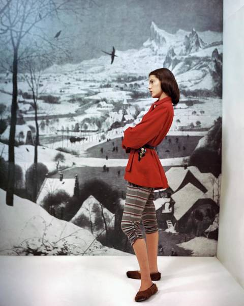 Wall Art - Photograph - Model In After-ski Jacket And Striped Pants by Frances McLaughlin-Gill