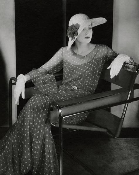 Relaxation Photograph - Model In Chanel Dress Sitting In A Wassily Chair by Edward Steichen