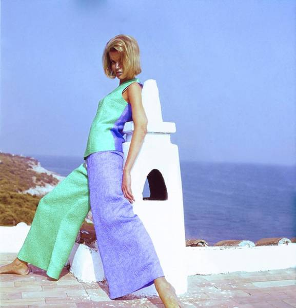 Wall Art - Photograph - Model In Emilio Pucci Pyjama Ensemble by Henry Clarke