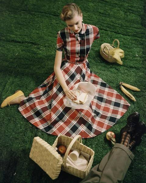 Picnics Photograph - Model In Gingham Dress Sitting On A Staged Lawn by Frances McLaughlin-Gill