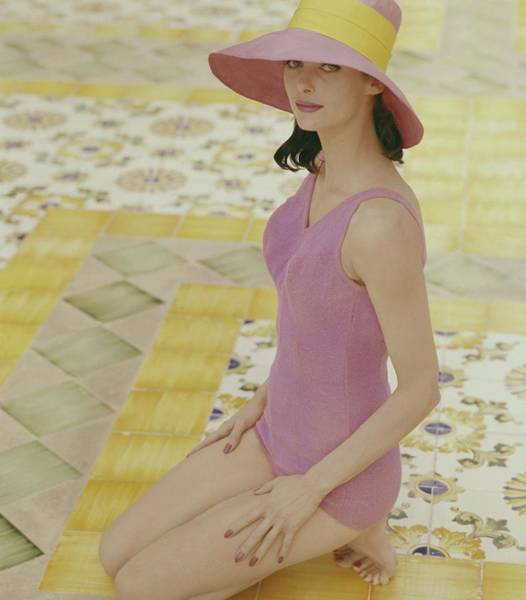 Tile Floor Photograph - Model In Pink Bathing Suit by Tom Palumbo