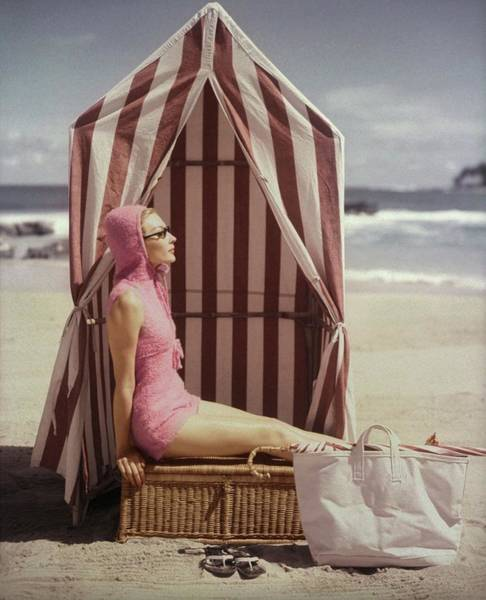 Water Photograph - Model In Pink Swimsuit With Tent On Beach by Louise Dahl-Wolfe