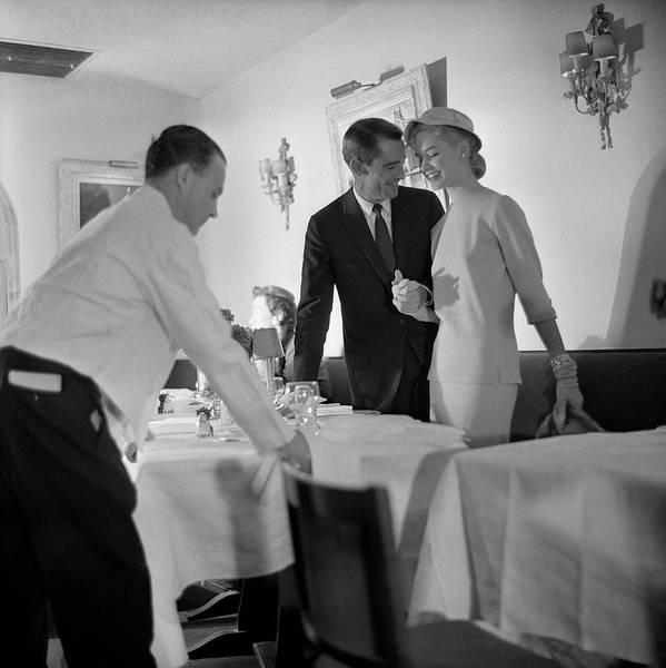Waiter Photograph - Model In Restaurant by Horst P. Horst