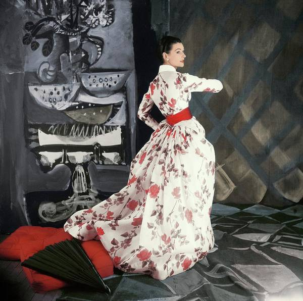 Wall Art - Photograph - Model In Rose Print Dress by Henry Clarke